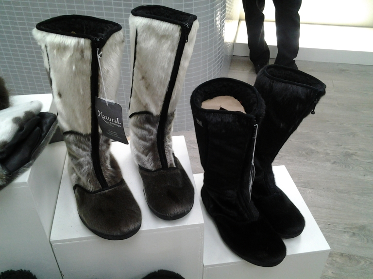 Canadian made Seal Skin boots at Natural Boutique, Water Street, St. John's.