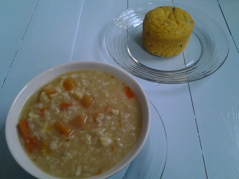 Fish soup with a corn bread muffin