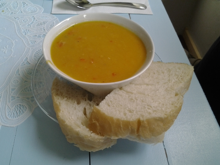 Pea Soup and homemade bread, Courtney's Comfort Kitchen,  Grates Cove, NL