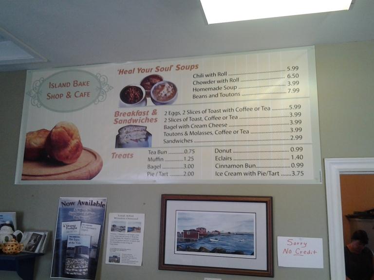Island  Bake shop menu
