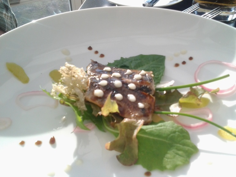 Herring filet with caribou moss and local greens, Fogo Island Inn