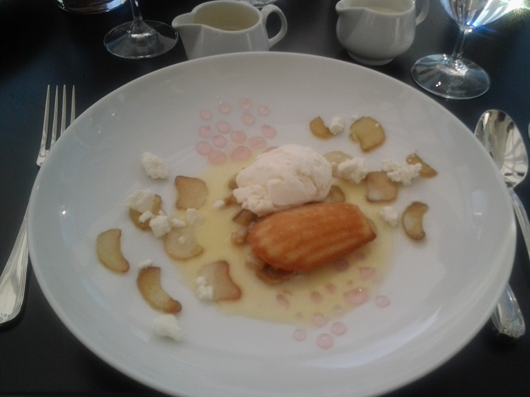 Rhubarb jelly, stewed and macerated with goat's cheese ice cream, Fogo Island Inn