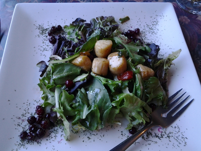 Scallop and wild berry salad, Trout River, NL