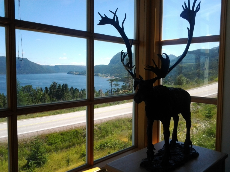 Caribou Statue and beautiful Bonne Bay, Woody Point Interpretation Centre, Gros Morne National Park, NL