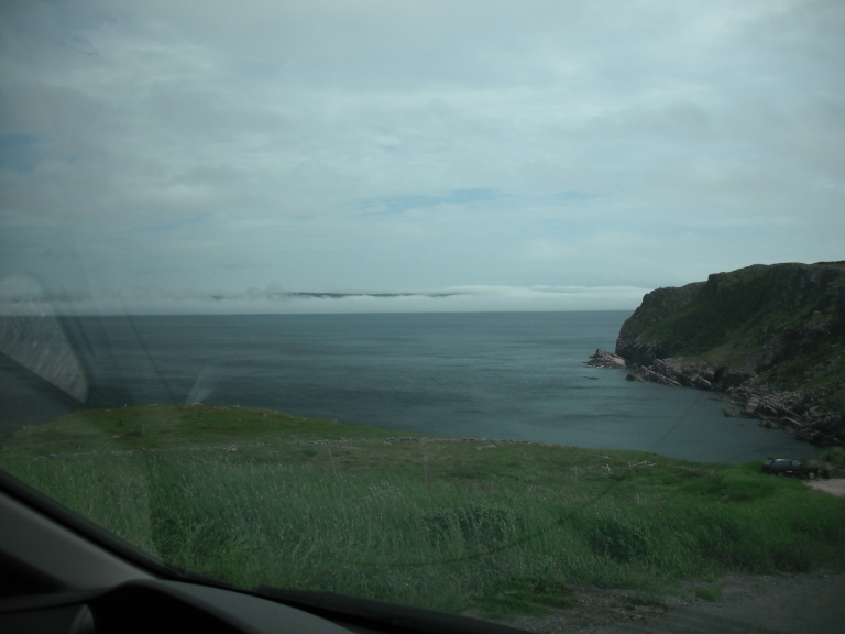 Fog banks off Red Head Cove, NL