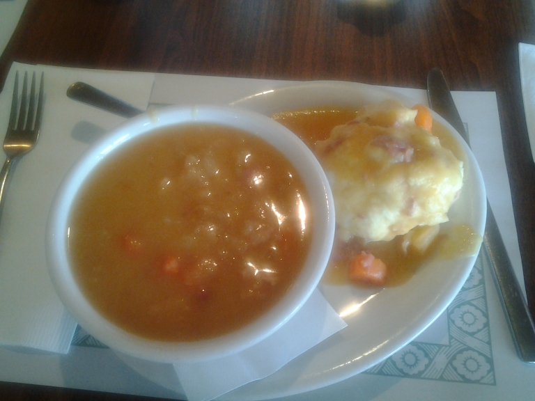 By the Sea Café Pea Soup and doughboy! With tons of salt beef!