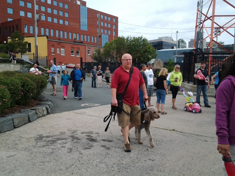 Observers and curious arriving at the Grand Punt Race, St. John's, NL