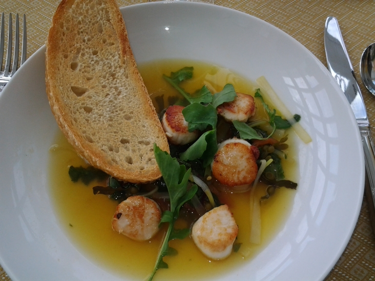 Scallops in a saffron broth with land and sea greens, Fogo Island Inn