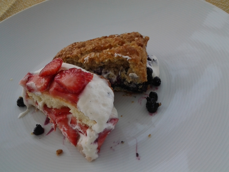 Strawberry shortcake and blueberry scone were much prettier before we split them, Fogo Island Inn Menu