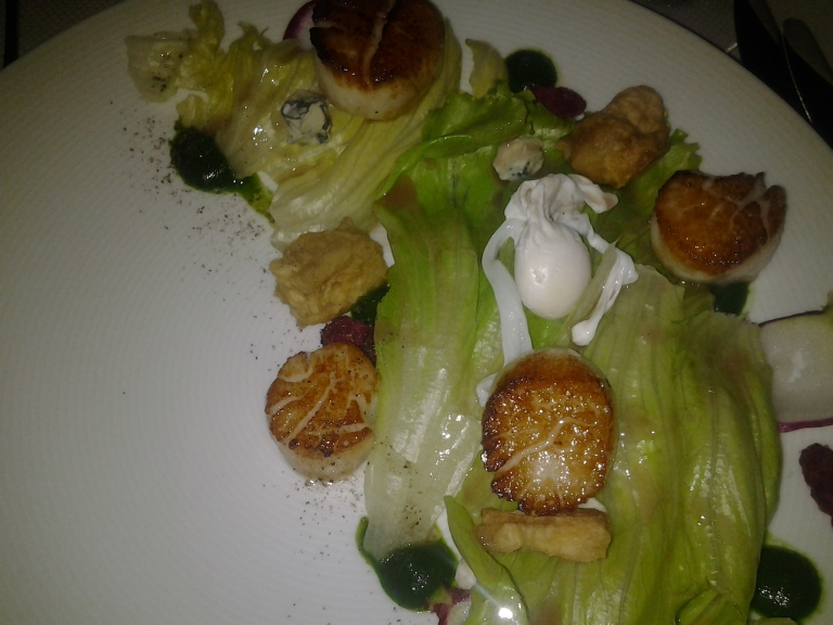 Scallops, quail egg and local greens with blue cheese, Fogo Island Inn, NL
