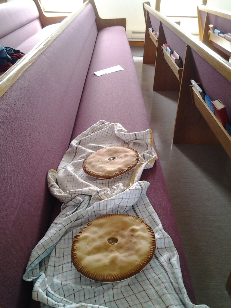 Fresh pies cooling in the pews, Fogo Island, NL