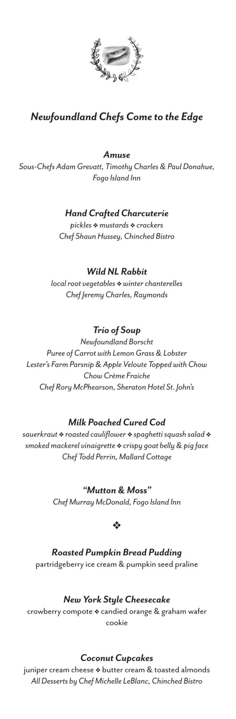 Menu from Seven Courses for Seven Season, Fogo Island Inn