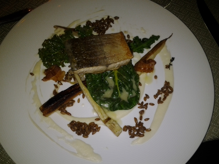 Arctic Char from Labrador, pureed and roasted parsnip, greens and wheat berries. Fogo Island Inn