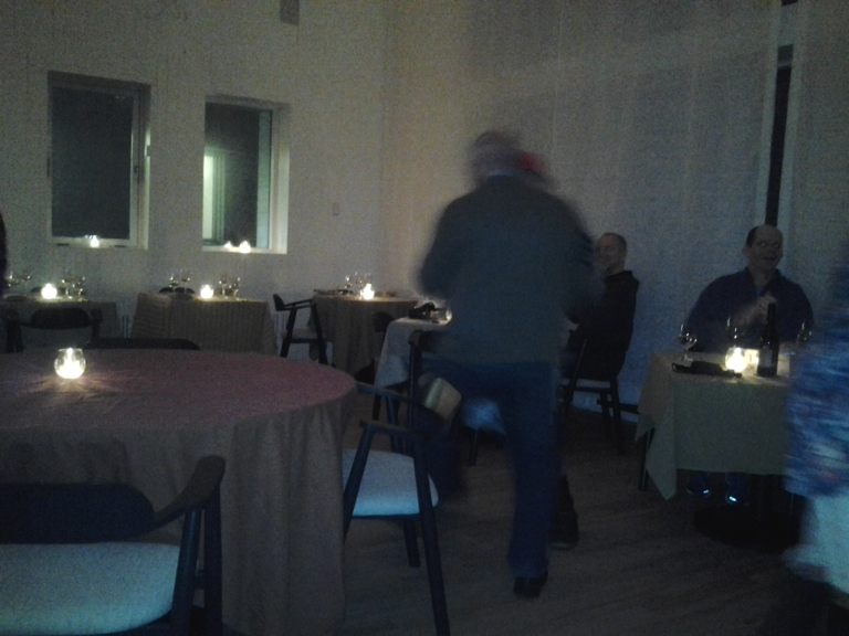 Inn guests dancing with mummers at the Fogo Island Inn
