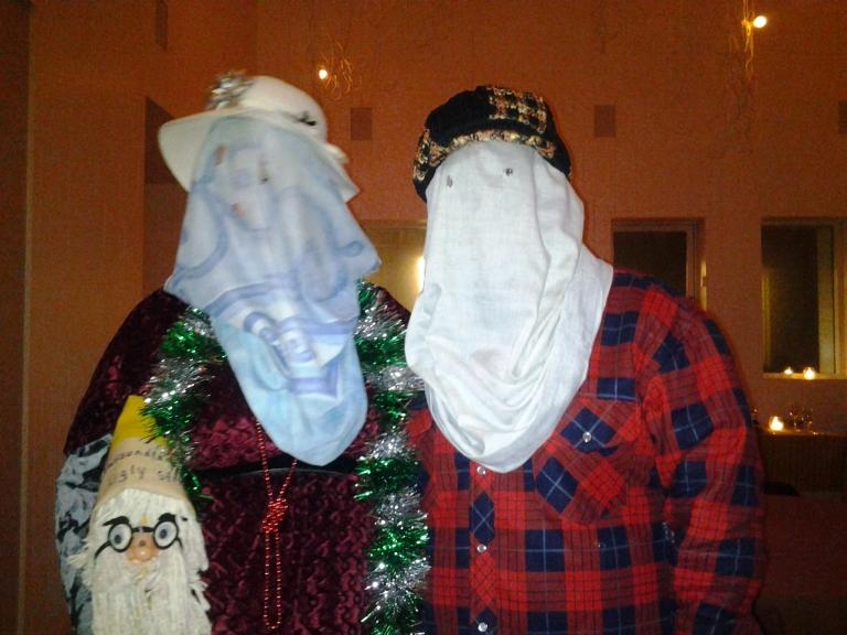 My lovely mummer dance partner on the right. Boxing Day, Fogo Island Inn