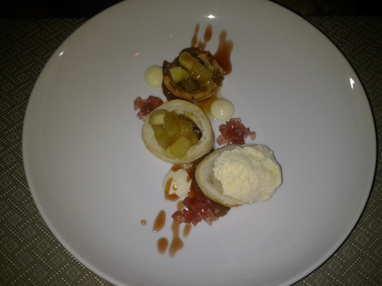 Apple pastry with red apple syrup and Labrador Tea ice cream, Fogo Island Inn