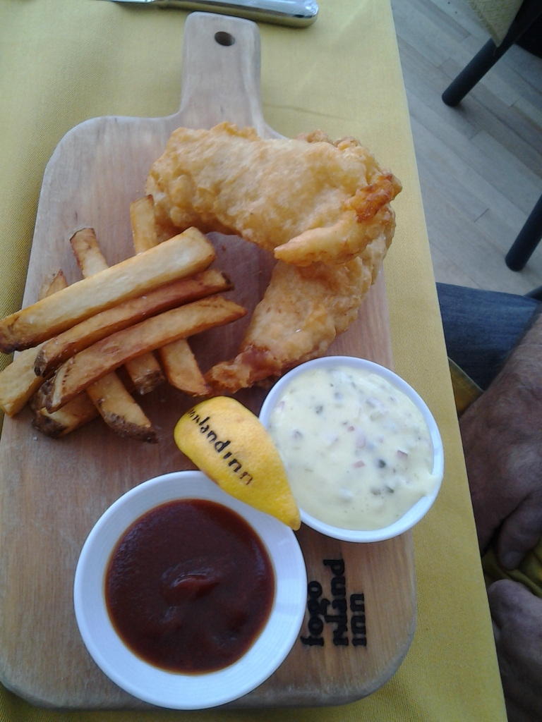 Fish and chips with homemade tomato jam and tartar sauce, Fogo Island Inn