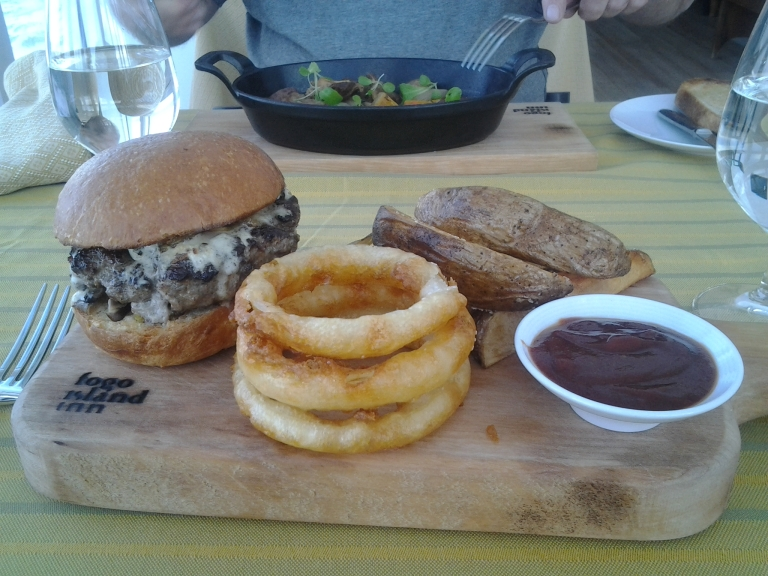 Moose Burger with foraged mushrooms and blue cheese, Hand-cut onion rings and steak fries with tomato jam, Fogo Island Inn