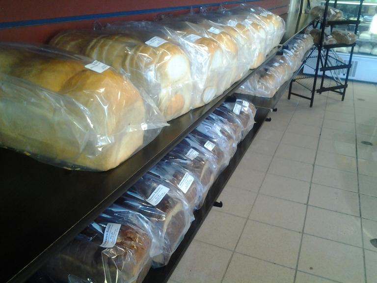 Traditional 3 bun white, wheat or molasses raisin breads. Gander Bread Box