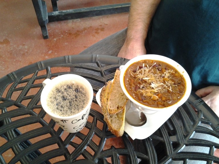 Great chili and artisan bread at the Crows Nest Café, Crow Head, NL