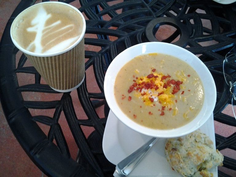 Potato and cheese soup had a great curry like spice and bacon bits and sour cream topping. Crows Nest Café.