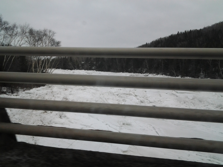 Guard rails and bridge rails are my specialty. Southwest River bridge with lots of huge ice pans.