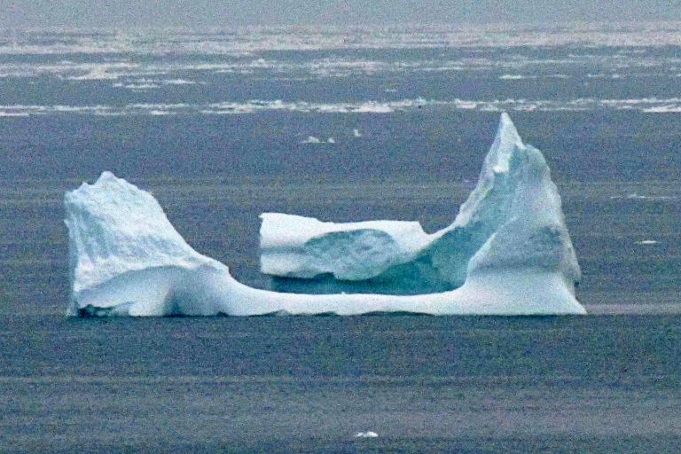 A telephoto lense helped Peggy Linfield capture this iceberg far off shore. Used with permission of Peggy Linfield.