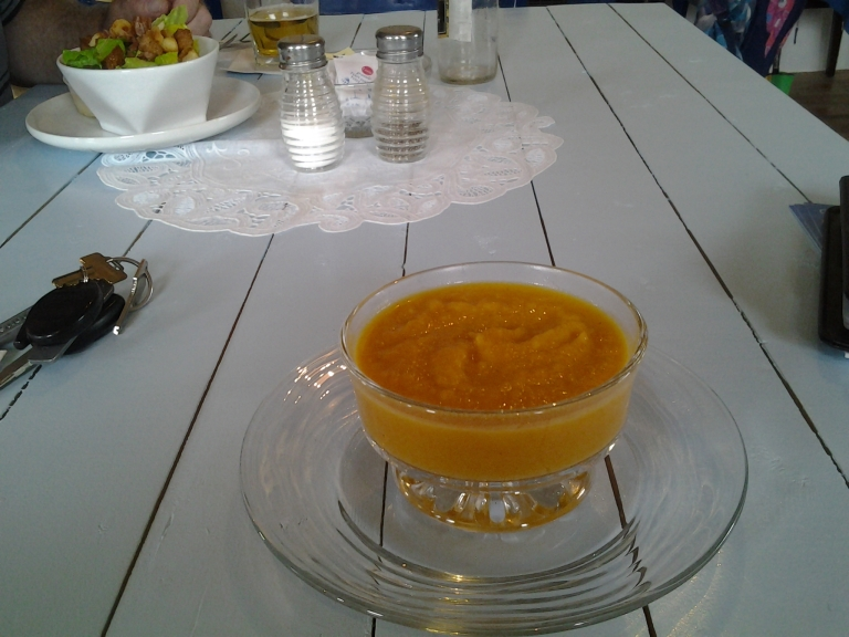 Butternut Squash soup and Caesar salad, Courtney's Comfort Kitchen at Grates Cove Studio, NL