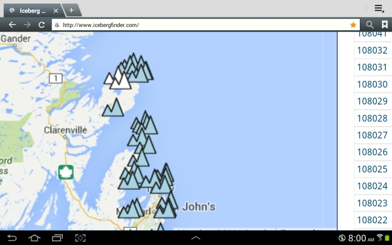 I take a screen shot of the Iceberg finder report for the day, in this case, May 4, 2014 when picking a destination.