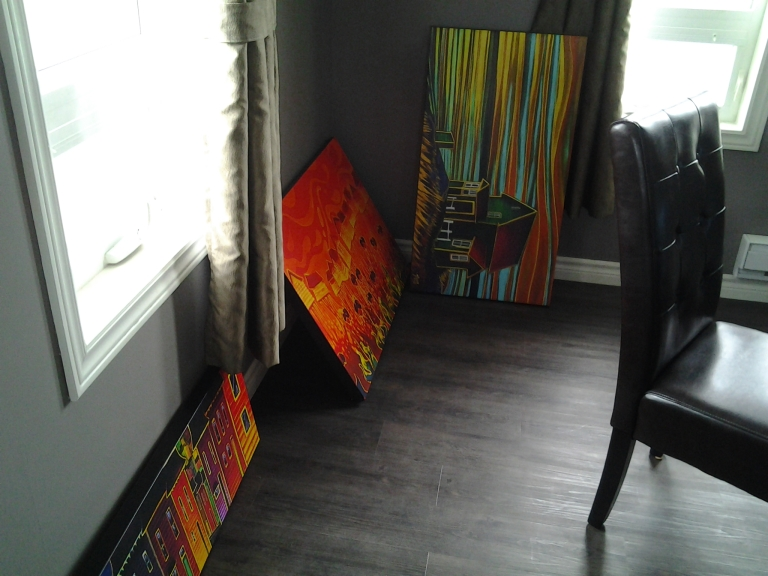 Prints by Adam Young, reading for hanging in the lovely dining room of Mudder's Place, Fogo, NL