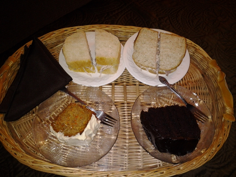 Turkey sandwiches and homemade desserts after a long day. Room service at Round Da Bay Inn, Plate Cove West, NL