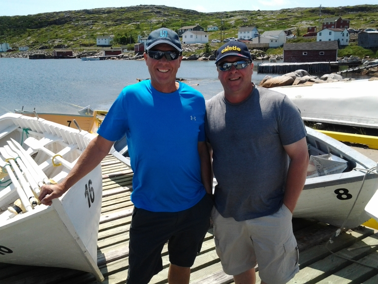 One of several teams of brothers, Wayne and Tom Freake, Silver Oar winners, Great Fogo Island Punt Race, 2014