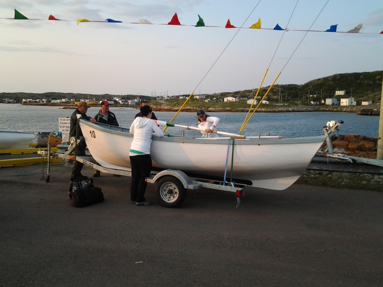 Punts being launched on the slipway. Fogo Island Punt Race, Joe Batts Arm, 2014
