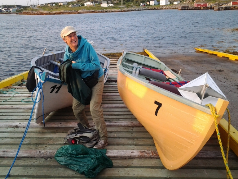 Fraser Carpenter getting ready to row in the Punt she won at last year's race. Fogo Island Punt Race 2014