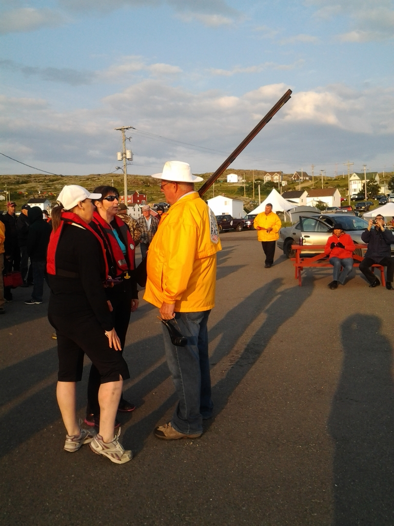 Peter Decker and Long Tom, Note the powder horn for the 200 year old gun, Fogo Island Punt Race