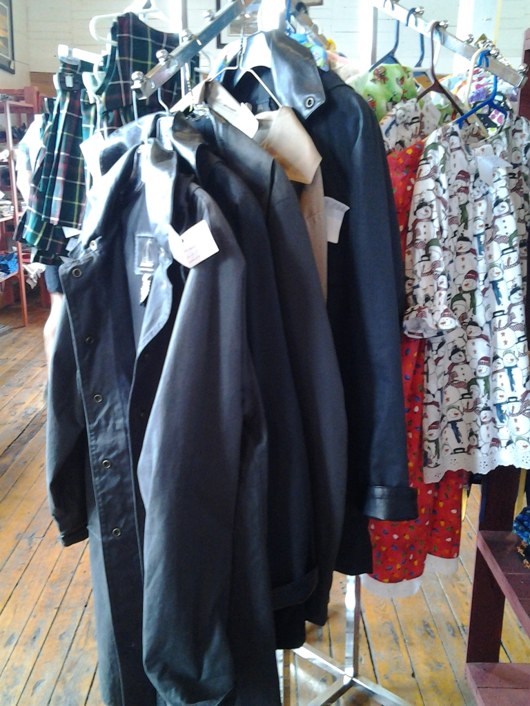 Oil skin coats made in Newfoundland.