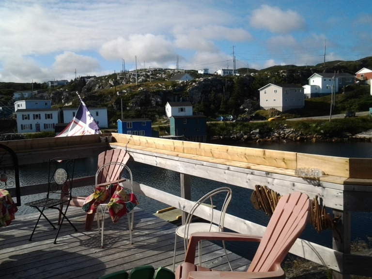 The deck is large and comfortable at the Rose Sea Guest House, Rose Blanche, NL
