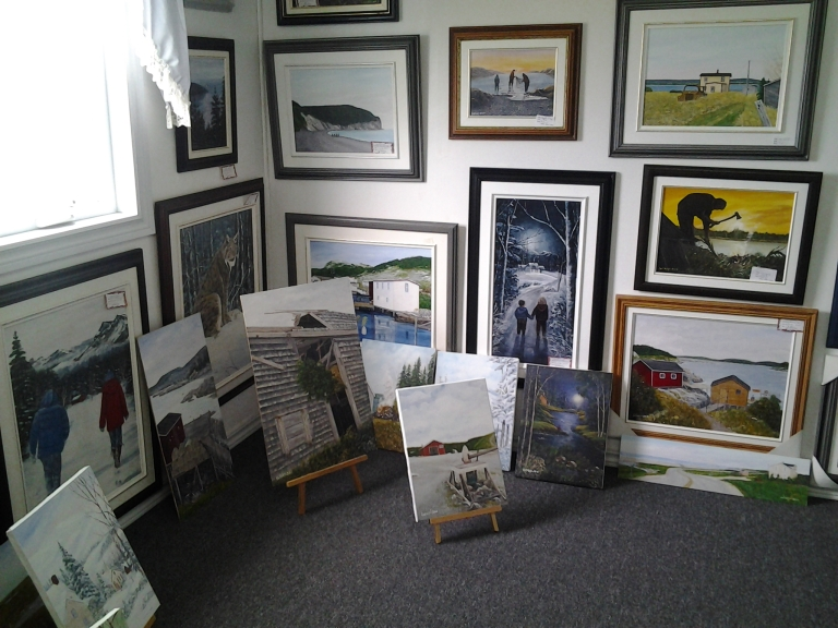 Various sizes of original art, framed and unframed by Mickael Lainey,Island Studio Art Gallery, Mainland, Newfoundland