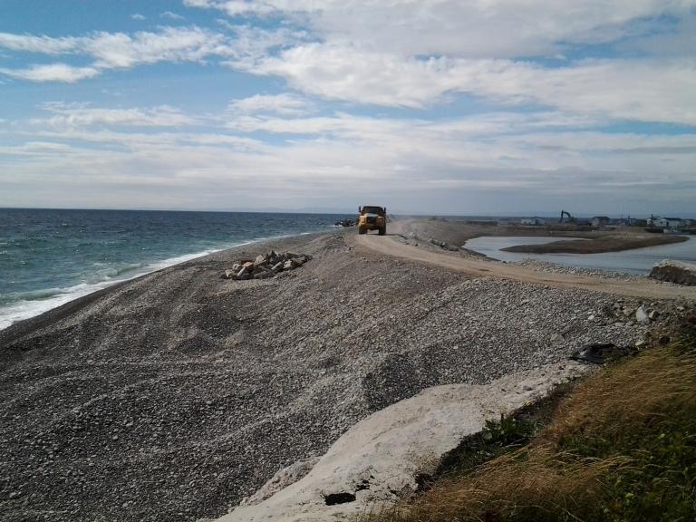 Constuction at Blue Beach on Long Point, near Black Duck Brook, L'Anse aux Canard, NL
