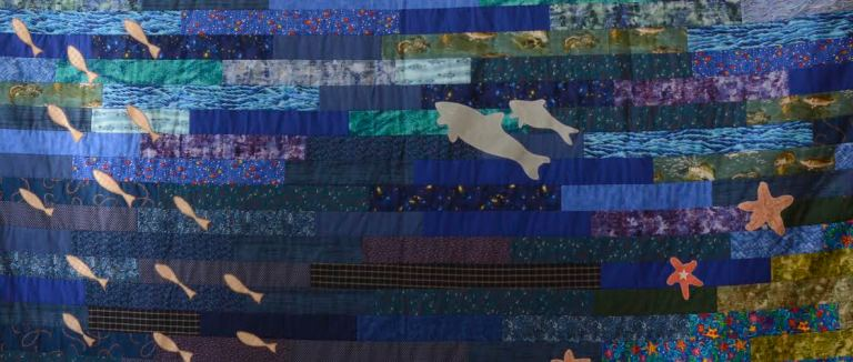 Detail of quilt by Lillian and Millicent Dwyer, Violet Combden and Donna Rowe from the Winds and Waves Craft Guild, Fogo Island, Newfoundland