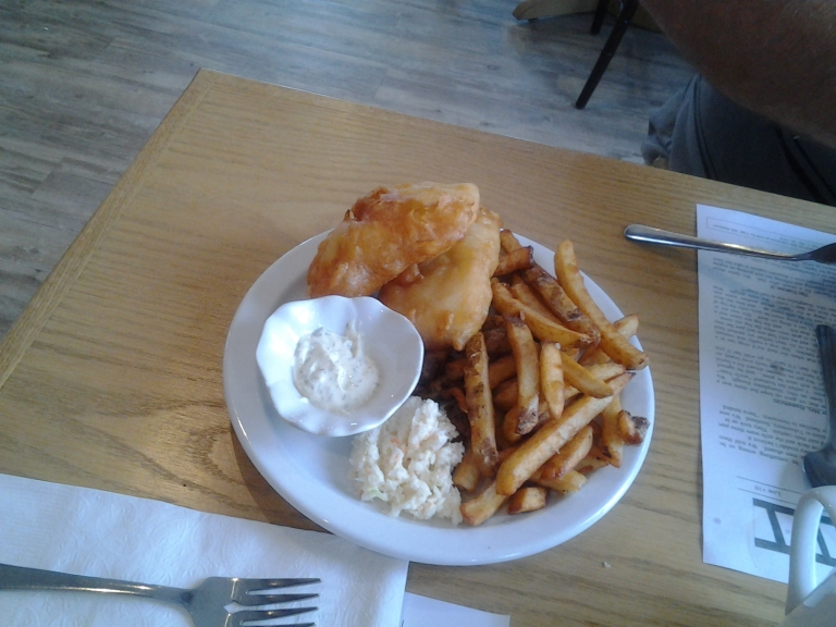 Fish and chips, of course, Old Shoppe Restaurant, Newtown, NL May 31, 2015