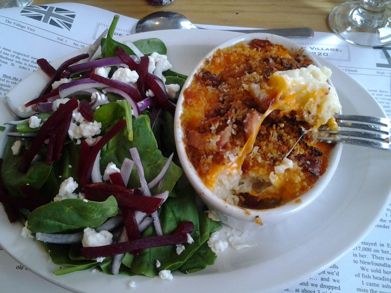 Nice big chunks of cod in the cod au gratin with a spinach and beet salad, Old Shoppe Restaurant, Newtown, NL May 31, 2015