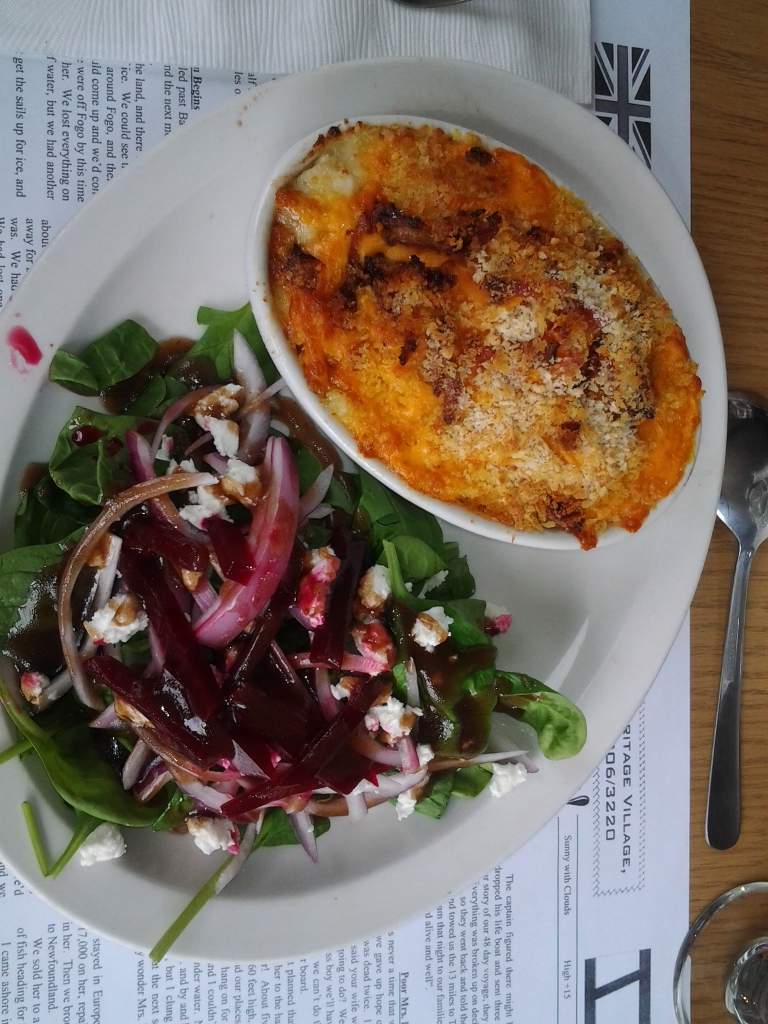 Cod Au gratin with spinach and beet salad, Old Shoppe Restaurant, Barbour Living Heritage Villiage, Newtown, Newfoundland and Labrador