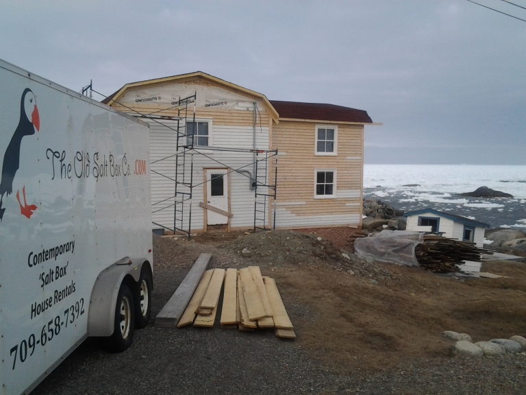 Old Salt Box House Company Greenspond renovation, May 2 2015.